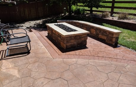 Modern Rectangle Fire Pit On Stamped Concrete